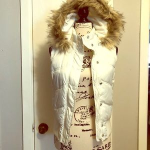 Vest with removable faux fur hood